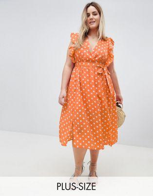 ポルカ ノンスリーブ ミディ イン ドット 大きいサイズ ドレス スリーブ グラマラス ワンピース glamorous curve sleeveless midi dress with flutter sleeves in polka dot レディースファッション
