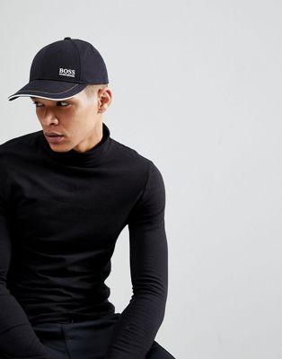 ボス boss イン 帽子 ロゴ 黒 ベースボール キャップ サイド ブラック side logo baseball cap in black 小物 メンズ帽子 バッグ ブランド雑貨