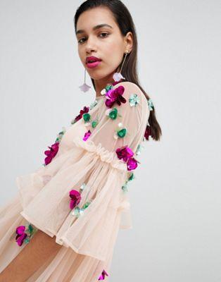 エイソス asos メッシュ ワンピース スモック スリーブ ミニ ドレス embellished mesh fluted sleeve smock mini dress レディースファッション