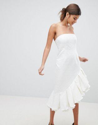 フリル プレミアム ドレス ワンピース ミディ prettylittlething premium bandeau frill midi dress レディースファッション