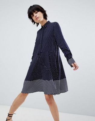 warehouse ウェアハウス stripe ストライプ and spot スポット shirt シャツ dress ドレス ワンピース レディースファッション
