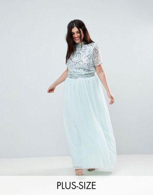 トップ マキシ ドレス フリル ワンピース プラス フロック プレミアム frock and frill plus premium embellished top maxi dress レディースファッション