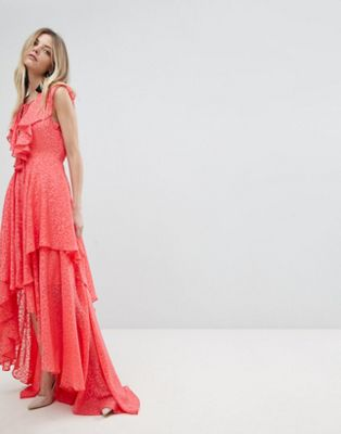 y.a.s アップ ドレス ワンピース レース マキシ ラッフル ruffle lace up maxi dress レディースファッション