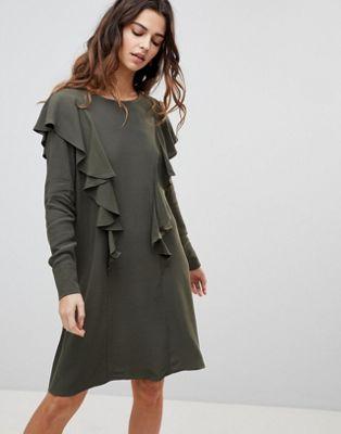 528c06c685e92 gina ruffle front dress ワンピース ラッフル ドレス y.a.s フロント レディースファッション