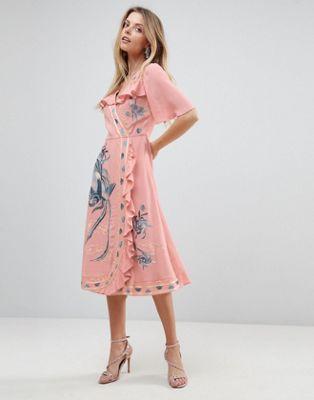 エイソス asos premium プレミアム embroidered ruffle ラッフル wrap ラップ midi ミディ dress ドレス ワンピース レディースファッション