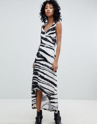 religion dip hem vest dress in zebra print ドレス ワンピース ベスト ヘム レリジョン ディップ ゼブラ プリント イン レディースファッション
