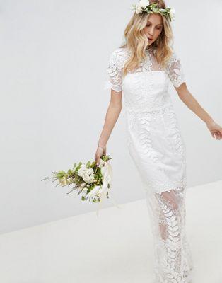 エイソス asos edition エディション corded lace レース maxi マキシ wedding ウェディング dress ドレス ワンピース with scallop hem ヘム レディースファッション