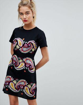 エイソス asos premium プレミアム paisley ペイズリー embroidered mini ミニ dress ドレス ワンピース レディースファッション