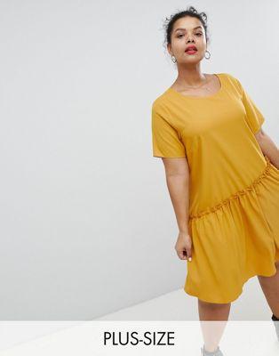 アシンメトリック ワンピース 大きいサイズ スモック グラマラス ドレス ヘム glamorous curve smock dress with asymmetric hem レディースファッション