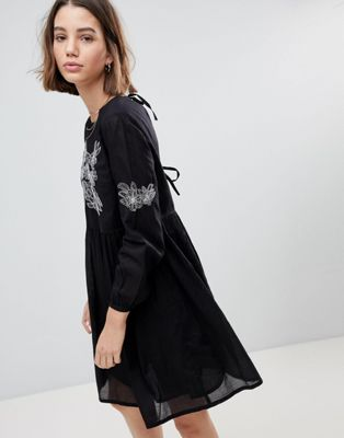 people tree smock dress with embroidery ピープル スモック ワンピース ドレス ツリー レディースファッション