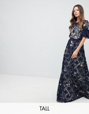 frock フロック and frill フリル tall トール allover floral フローラル embroidered lace レース maxi マキシ dress ドレス ワンピース with flutter sleeve スリーブ レディースファッション