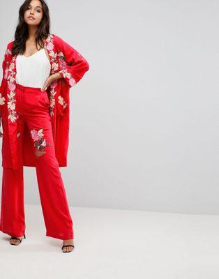 millie ミリー mackintosh マッキントッシュ rose ローズ embroidery wide ワイド leg レッグ trousers パンツ レディースファッション ボトムス