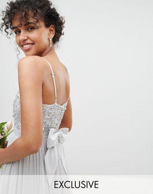 maya マヤ cami キャミ strap ストラップ sequin top トップ tulle チュール detail ディテール maxi マキシ bridesmaid dress ドレス ワンピース レディースファッション