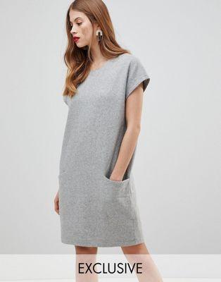 wool dress with oversized pockets 特大 ドレス ウール y.a.s ポケット ワンピース レディースファッション