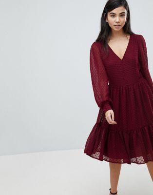 ラグジュアリー ワンピース テクスチャ ドット ドレス イン soaked in luxury textured dot tiered dress レディースファッション