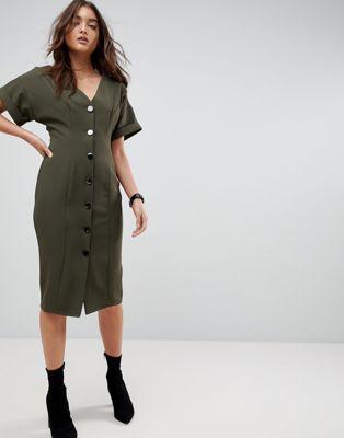エイソス asos ドレス シームド ワンピース ミディ スルー ボタン seamed midi dress with button through レディースファッション
