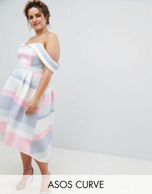 エイソス エイソスカーブ バルドット asos curve bardot ストライプ バルドー ドレス ショルダー ディップ パステル 大きいサイズ バック ワンピース コールド cold shoulder dip back pastel stripe prom dress