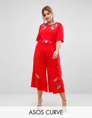 エイソス エイソスカーブ asos curve ティー ジャンプスーツ 大きいサイズ embroidered tea jumpsuit レディースファッション オールインワン サロペット