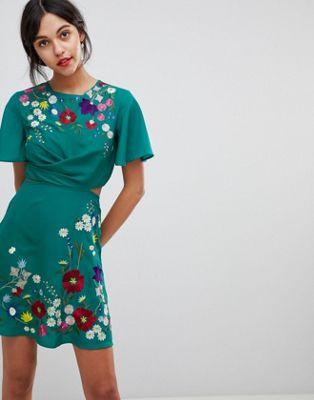 エイソス asos ultimate embroidered cut out mini tea dress ティー ドレス アルティメイト ワンピース ミニ アウト カット レディースファッション