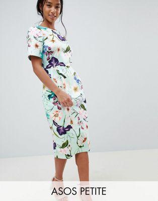 エイソス asos イン ワンピース フローラル 小さいサイズ デザイン ウィグル ドレス プリント ミディ design petite wiggle midi dress in floral print レディースファッション