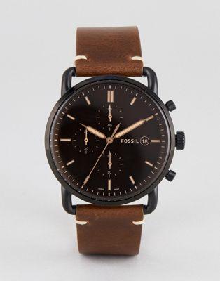 フォッシル クロノグラフ レザー ウォッチ 時計 イン 茶 ブラウン メンズ 男性用 腕時計 メンズ腕時計 【 WATCH FOSSIL FS5403 COMMUTER CHRONOGRAPH LEATHER IN BROWN 42MM 】