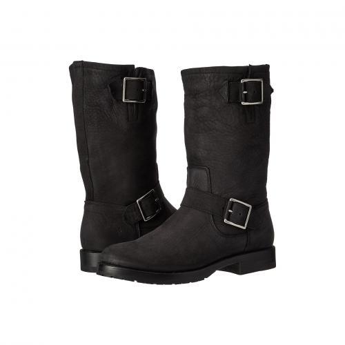 フライ ナタリー ミッド エンジニア 黒 ブラック ソフト ヌバック レディース 女性用 レディース靴 靴 ブーツ 【 BLACK FRYE NATALIE MID ENGINEER SOFT TUMBLED NUBUCK 】