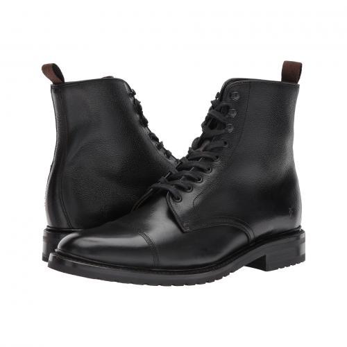 フライ レースアップ 黒 ブラック スムース プル グレイン メンズ 男性用 靴 ブーツ メンズ靴 【 BLACK FRYE OFFICER LACEUP SMOOTH PULL UP SCOTCH GRAIN 】