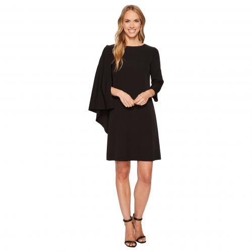 アン クライン ケープ ドレス ワンピース 黒 ブラック レディース 女性用 レディースファッション 【 BLACK ANNE KLEIN CAPE SHEATH DRESS 】