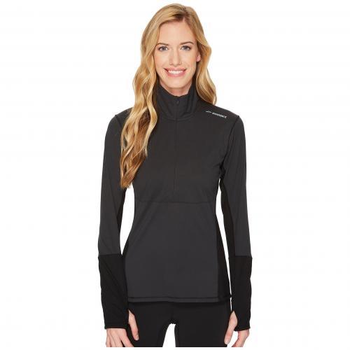 ブルックス ドリフト ジップ 黒 ブラック レディース 女性用 レディースファッション カットソー Tシャツ トップス 【 BLACK BROOKS DRIFT 1 2 ZIP 】