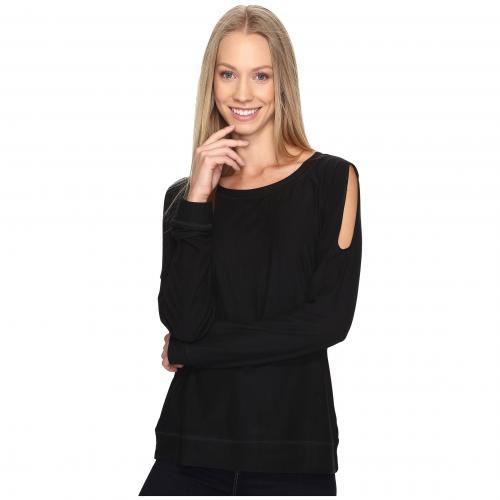 ビー コレクション コールド ショルダー Tシャツ 黒 ブラック レディース 女性用 レディースファッション カットソー トップス 【 BLACK B COLLECTION BY BOBEAU COLD SHOULDER TEE 】