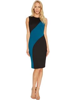 カルバン クライン カラー ブロック ドレス ワンピース レディース 女性用 レディースファッション 【 CALVIN KLEIN COLOR BLOCK SHEATH DRESS CD7M126T BLACK CYPRESS 】