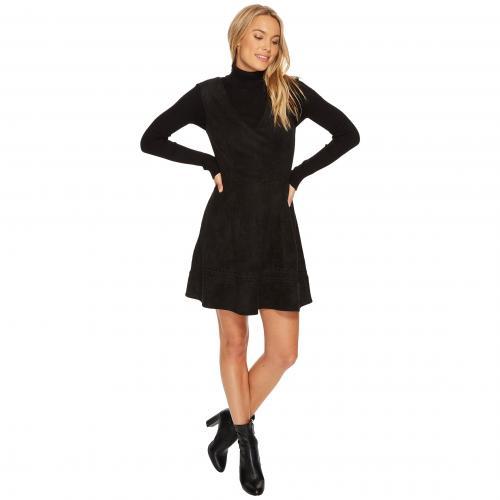 ダコタ スエード スウェード フィット フレアー ドレス ワンピース 黒 ブラック & レディース 女性用 レディースファッション 【 BLACK BB DAKOTA LYNNE FAUX SUEDE FIT FLARE DRESS 】