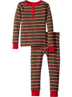 サンタ ストライプ ワッフル ヘンリー ピーチジョン セット 緑 グリーン 子供用 ビッグキッズ ベビー パジャマ マタニティ キッズ 下着 【 GREEN HATLEY KIDS SANTA STRIPES WAFFLE HENLEY PJ SET TODDLER 】