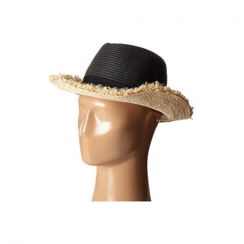 フリンジ パナマ 黒 ブラック レディース 女性用 小物 帽子 ブランド雑貨 レディース帽子 バッグ 【 BLACK BCBGMAXAZRIA FRINGED PANAMA 】
