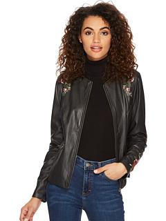 ビーガン ジャケット 黒 ブラック レディース 女性用 アウター レディースファッション コート 【 BLACK LYSSE EMBROIDERED VEGAN JACKET 】