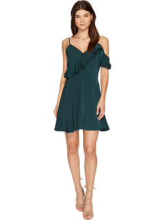 ダブル ラッフル フィット フレアー ドレス ワンピース 緑 グリーン J.O.A. & レディース 女性用 レディースファッション 【 GREEN DOUBLE RUFFLE FIT FLARE DRESS 】