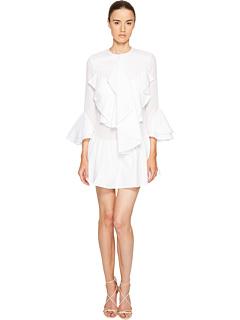 ロング スリーブ ラッフル フロント ドレス ワンピース 白 ホワイト レディース 女性用 レディースファッション 【 SLEEVE FRANCESCO SCOGNAMIGLIO LONG RUFFLE FRONT DRESS WHITE 】