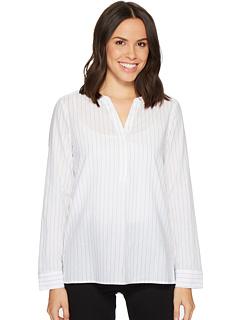 ヘンリー シャツ スパークル ストライプ オプティック 白 ホワイト レディース 女性用 レディースファッション カットソー Tシャツ トップス 【 STRIPE NYDJ YARNDYE LAWN HENLEY SHIRT SPARKLE OPTIC WHITE