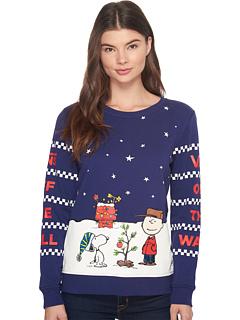 バンズ ピーナッツ クリスマス クルー レディース 女性用 カットソー トップス Tシャツ レディースファッション 【 VANS PEANUTS CHRISTMAS CREW 】