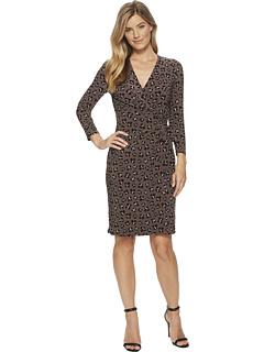 アン クライン プリンテット ラップ ドレス ワンピース アルペン コンボ レディース 女性用 レディースファッション 【 WRAP ANNE KLEIN PRINTED FAUX DRESS ALPINE WOOD BLACK COMBO 】