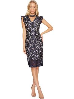 ルーシー スクロール レース ラッフル ドレス ワンピース ピンク レディース 女性用 レディースファッション 【 PINK ADRIANNA PAPELL LUCY SCROLL LACE RUFFLE SHEATH DRESS NAVY PALE 】