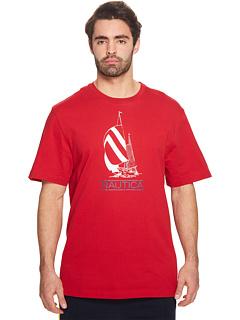 ビッグ トール Tシャツ 赤 レッド & メンズ 男性用 カットソー メンズファッション トップス 【 NAUTICA BIG TALL SPINNAKER LIL YACHTY TEE RED 】