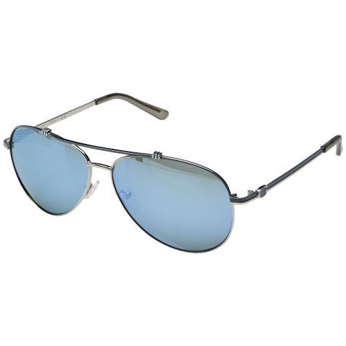ゲス ミラー レンズ レディース 女性用 ブランド雑貨 サングラス バッグ 小物 眼鏡 【 GUESS GF6016 SILVER BLUE MIRROR LENS 】