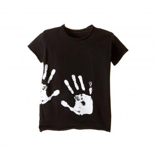 ハンド プリント ロウ Tシャツ 黒 ブラック 子供用 リトルキッズ ベビー カットソー マタニティ キッズ トップス 【 BLACK NUNUNU HAND PRINT RAW TSHIRT INFANT TODDLER 】