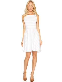 スリー ドット サントリーニ ストライプ フィット フレアー ドレス ワンピース & レディース 女性用 レディースファッション 【 STRIPE THREE DOTS SANTORINI FIT FLARE DRESS OATMEAL WHITE 】