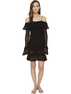 ジョナサン ラッフル ドレス ワンピース カバーアップ 黒 ブラック レディース 女性用 レディースファッション 【 BLACK JONATHAN SIMKHAI RUFFLE CROCHET DRESS COVERUP 】