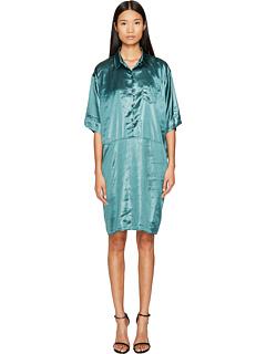 ソニア リキエル サテン ドレス ワンピース ベルト 緑 グリーン レディース 女性用 レディースファッション 【 GREEN SONIA RYKIEL CREASED SATIN DRESS WITH BELT EMERELD 】