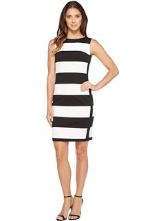 カルバン クライン ストライプ ポンテ ドレス ワンピース レディース 女性用 レディースファッション 【 STRIPE CALVIN KLEIN PONTE SHEATH DRESS BLACK IVORY 】