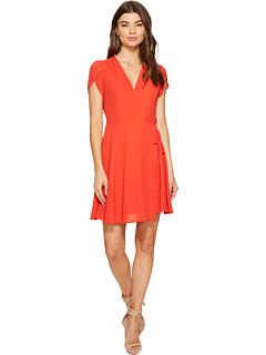 ラップ フロント ドレス ワンピース ネクタイ ハバナ 赤 レッド 1.STATE レディース 女性用 レディースファッション 【 WRAP FRONT DRESS W TIE HAVANA RED 】