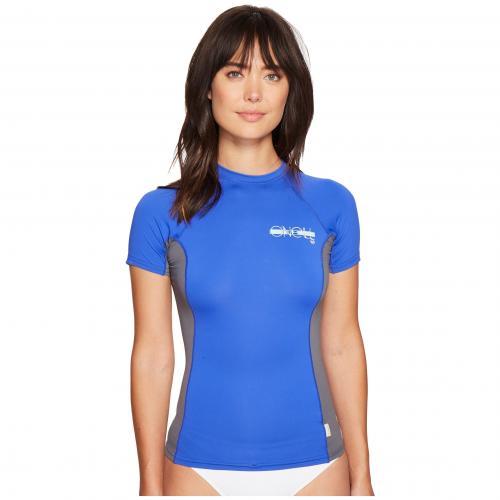 O'NEILL オニール スキンズ 半袖 Tシャツ クルー 青 ブルー レディース 女性用 レディースファッション カットソー トップス 【 SKINS BLUE S CREW TAHITIAN GRAPHITE 】